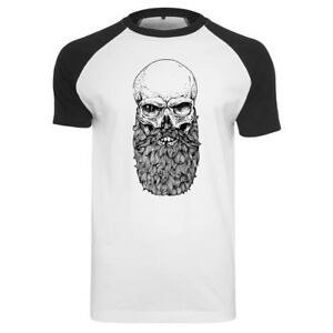 FABTEE Totenkopf Skull Beard Bart Vollbart Hipster Moustache Raglan Herren Shirt