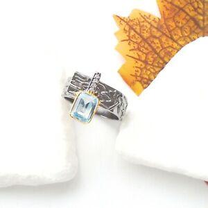 Blautopas-blau-eckig-gold-schwarz-Ring-18-5-18-75-mm-925-Sterling-Silber-neu