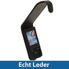 Schwarz Leder Tasche für Sony Walkman NWZ-E473 NWZ-E474 NWZ-E473K NWZ-E474B