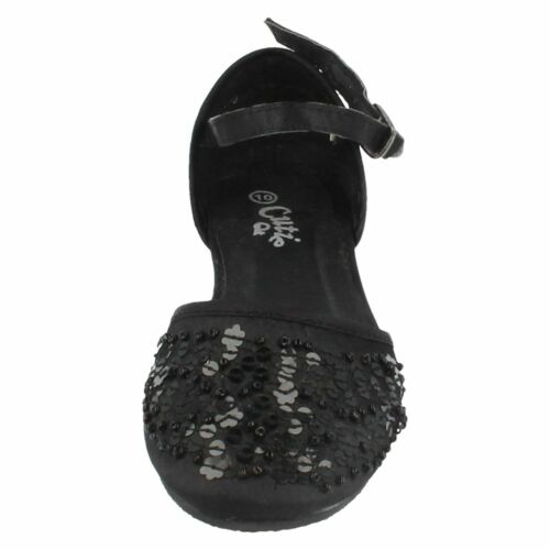 Cutie Qt H2R170 Girls Black Sequined Flat Fastening Buckle Shoes KR