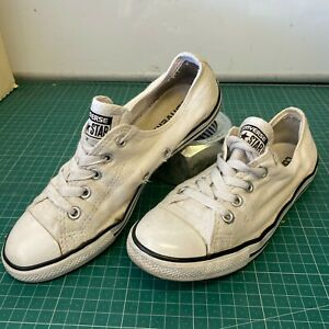Distressed-Worn-In-Converse-All-Star-Black-UK-2-Kids-Empty-Top-Lace-Hole