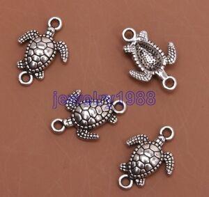 10pcs-Tibetan-Silver-Charm-Tortoise-Connector-21x14mm-Jewelry-Finding-F3114