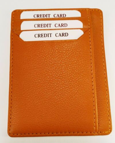 RFID protected Top quality ENGLISH TAN Nappa leather front pocket mini wallet