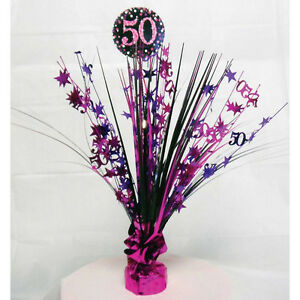 Image Is Loading 50th Birthday Spray Centrepiece Table Decoration Black Pink
