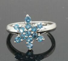 9ct White Gold London Blue Topaz Elsa Snowflake Cluster (Size M) 12x12mm Cluster