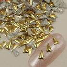 100Pcs Gold/Silver Triangle 3D Metal Nail Art Rhinestone Studs Decor Xmas Gift