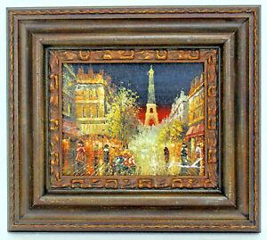 Paris-Eiffel-Tower-8-X-10-Oil-Painting-on-Canvas-w-Custom-Frame-Free-Shipping