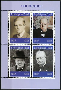 Chad-2019-CTO-Winston-Churchill-4v-M-S-Politicians-Famous-People-Stamps