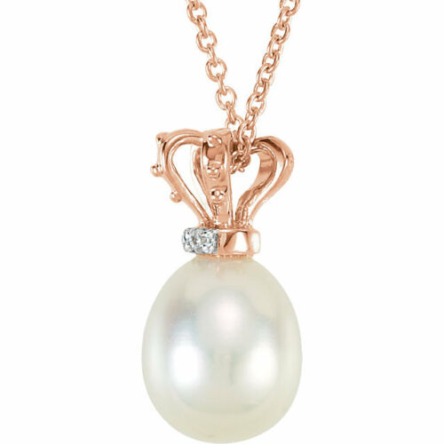 "Freshwater Cultured Pearl /& Diamond Crown 18/"" Necklace In 14K Rose /& White Gold"