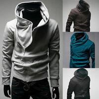 Men's Oblique Zip up Fitted Hoodies Coat Asymmetric Jacket Sweater Jersey #J48