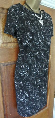 Nuevo Ex M/&S Colección Negro Gris Marfil Floral Cambio Vestido 10 12 14 16 18