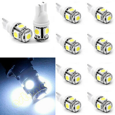 10x T10 5050 SMD 5-LED 194 168 W5W 360° Wedge Bulb XENON WHITE Car Tail light