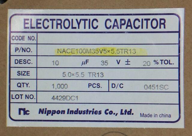 2x NRSA221M35V10X12.5 NIC Cap Aluminum Lytic 220uF 35V 20/% 10X12.5mm Radial 5mm