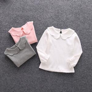 bd6c6c546 Girls Long Sleeve T-shirt Kids Cotton peter pan collar t-Shirts tops ...