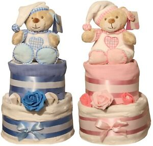 Deluxe-White-Stars-Nappy-Cake-Blue-or-Pink-Design-Cellophane-Wrapped-Baby-Gift