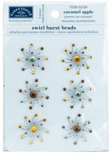 Karen Foster Designs Swirl Burst Brads Caramel Apple Scrapbooking Embellishments