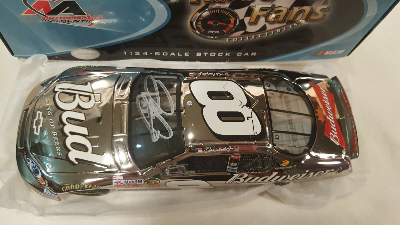 Rare Chrome Autographed Dale Earnhardt Jr. SS Bud Budweiser 1 24 Scale - New