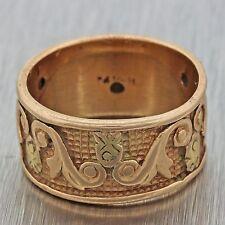 1880s Antique Victorian Estate 14k Solid Rose Gold Engraved Wedding Band Ring