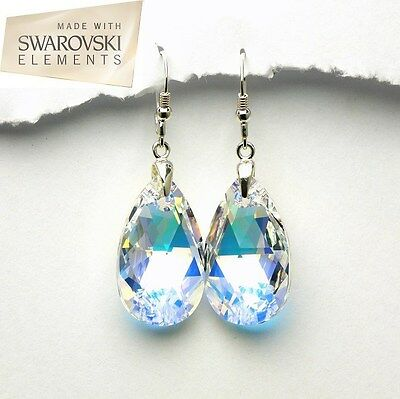 Sterling silver earrings with genuine SWAROVSKI elements - crystal ab pear-E-081