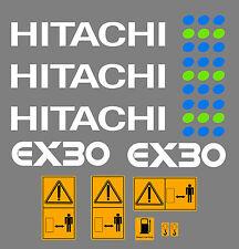 HITACHI EX30 MINI BAGGER AUFKLEBER SATZ MIT SICHERHEIT-WARNZEICHEN