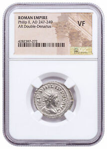 AD-247-249-Roman-Empire-Silver-Double-Denarius-of-Philip-II-NGC-VF-SKU56210