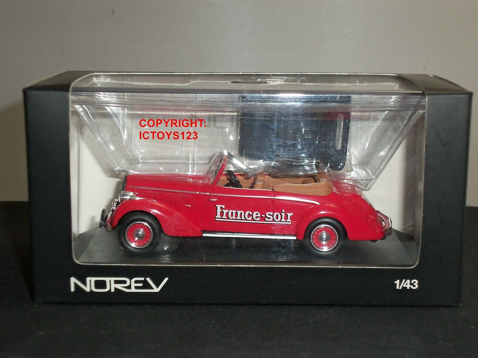 NOREV 590009 HOTCHKISS FRANCE SOIR RED DIECAST MODEL CAR