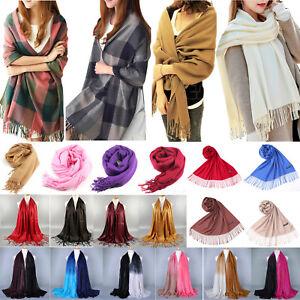 Women-Winter-Pashmina-Wool-Long-Neck-Warm-Shawl-Scarf-Wrap-Tassel-Stole-Scarves