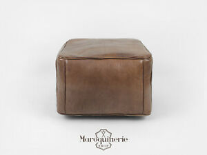 Groovy Details About Dark Brown Leather Pouf Moroccan Leather Pouf Leather Ottoman Leather Chair Ncnpc Chair Design For Home Ncnpcorg