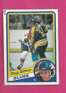 1984-85-OPC-185-BLUES-DOUG-GILMOUR-ROOKIE-GOOD-CARD-INV-D4367