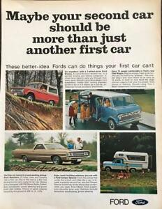 White Van and Adorable Children; 12 Campers from Camp Ra-Pa-Ho FORD CLUB WAGON Original 1968 Vintage Extra Large Color Print Advertisement