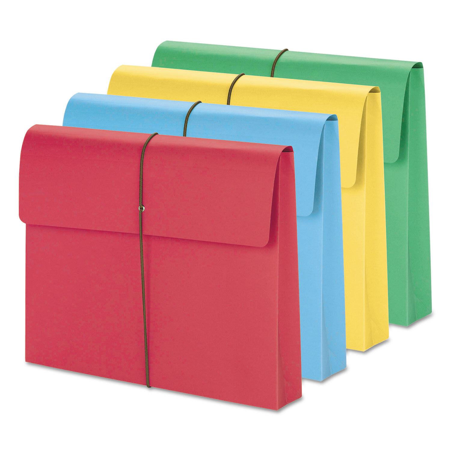 Smead 2  Exp Wallet Elastic Cord Letter bluee Green Red Yellow 50 Box 77251