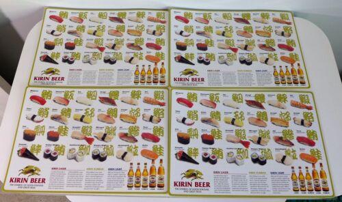 4 Vintage Kirin Beer Sushi Placemats NOS Laminated Place Mat Sushi Photos Set
