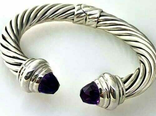 0.46 Ct Amethyst Cable Classics Bracelet 925 Sterling Silver 7.5 mm