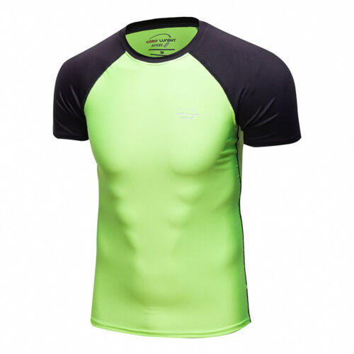 Mens Compression Athletic Base Layers Workout Moisture wicking T-shirt Crew Neck