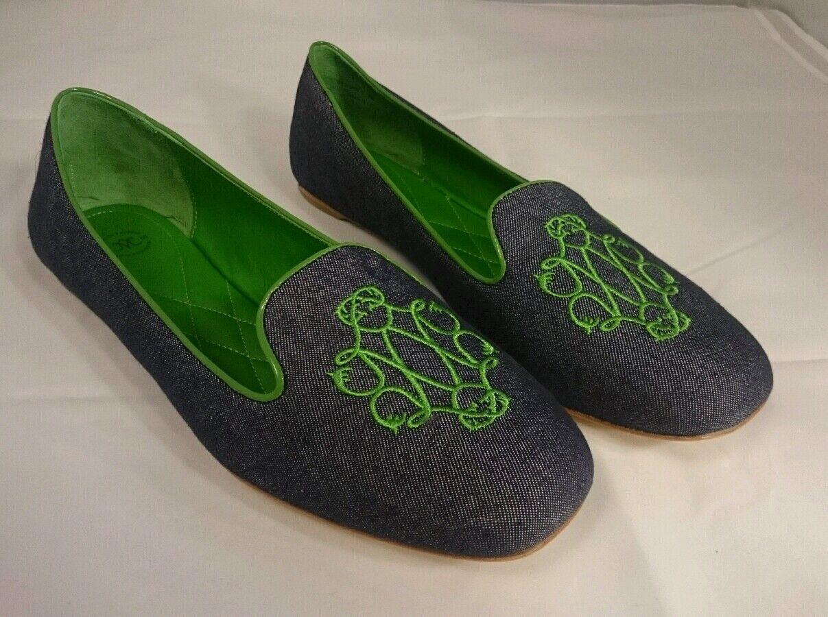 248 NUOVO Johnston Murphy donna Flats Riley blu Monogrammed  verde Oxfords scarpe  risposta prima volta