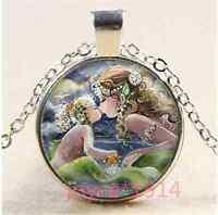 Mermaid kiss child Cabochon Tibetan silver Glass Chain Pendant Necklace #XP-1156
