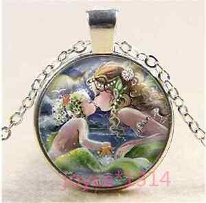 Mermaid-kiss-child-Cabochon-Tibetan-silver-Glass-Chain-Pendant-Necklace-XP-1156