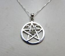 Triple Moon Pentagram Sterling silver Goddess necklace rainbow moonstone  .925
