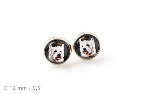 Photojewelry Handmade Earrings with box West Highland White Terrier UK