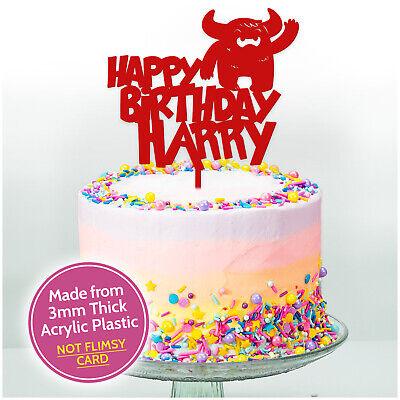Astounding Boys Girls Personalised Monster Birthday Cake Topper Decoration Funny Birthday Cards Online Fluifree Goldxyz