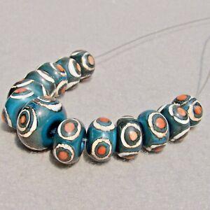 BLUE JEANS Set(13) Handmade Glass Beads Flaming Fools Lampwork Art Glass SRA
