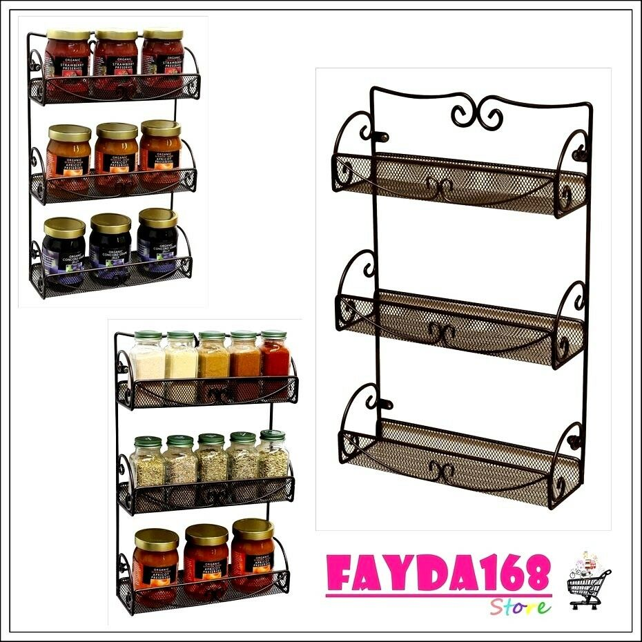 Wall Cabinet Spice Rack: Storage Shelf 3 Tier Wall Mounted Spice Rack Kitchen