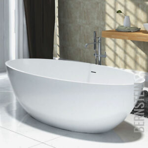 Freistehende Badewanne aus Mineralguss RIO STONE weiß Matt oder ...