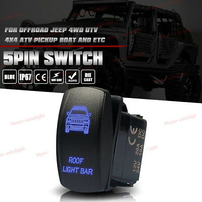 SASQUATCH LIGHTS On-Off Laser Etched Car Rocker Switch Control 5Pin Blue LED 12V