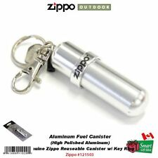 Zippo Aluminum Fuel Fluid Canister, Hi Polished, Reusable, w/ Key Ring #121503