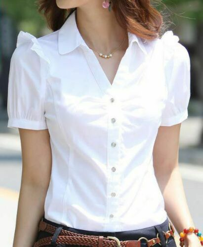 Top Blouse T-shirts Lady Summer Chiffon Office Loose Ladies Blouses Stylish