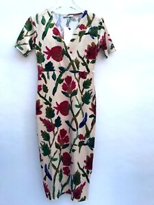 Zara-Floral-Robe-Mi-Longue-Taille-M-Femmes