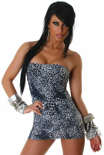 Bandeaukleid Dress Club Cocktailkleid Tanz Party Minikleid Leo-Optik Kleid Größe