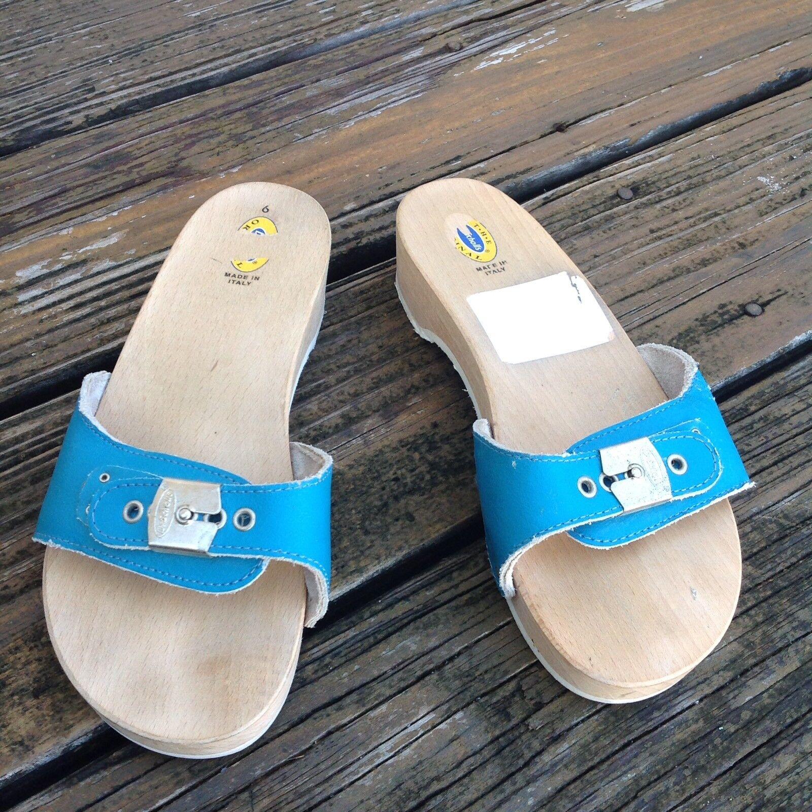 Vintage Dr Scholls Aqua bleu Wood Leather Sandals 6 Slip On femmes chaussures 70s 80s
