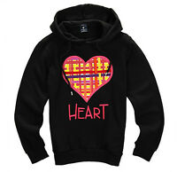 Nii Womens Casual Check Pattern Heart Decorated Hoodie Sweatshirt Black Size Xs